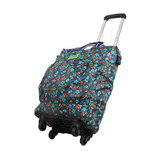 SODKK Einkaufswagen mit 4 Räder Rollen, 25L Einkaufstrolley mit Einkaufstasche & verstellbare Handgriffe, Großer Regenfeste Stabiler Handwagen, Gestell aus Aluminium Blume
