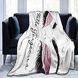 Bimakou Pink Rose White Makeup Lashes Hello Gorgeous Fleece Blanket Throw Lightweight Blanket Super Soft Cozy Bed Warm Blanket for Living Room/Bedroom All Season-50 x40