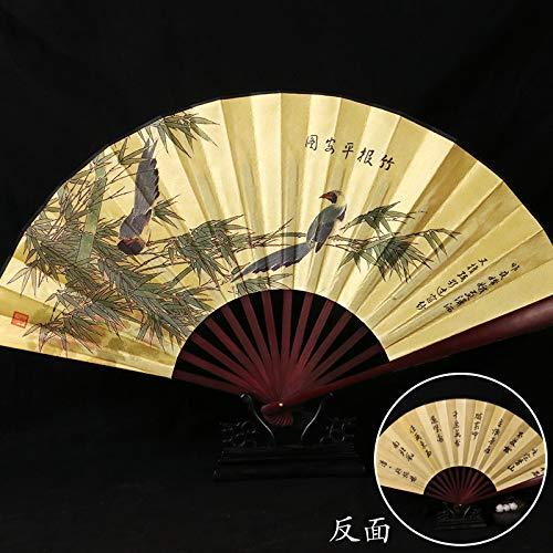 Opvouwbare vakken, Chinese inkt, bamboe, bamboe, magpie, dierpatroon, bamboe, waaier, ventilator, inklapbaar, geel, kantoordecoratie, kantoordecoratie