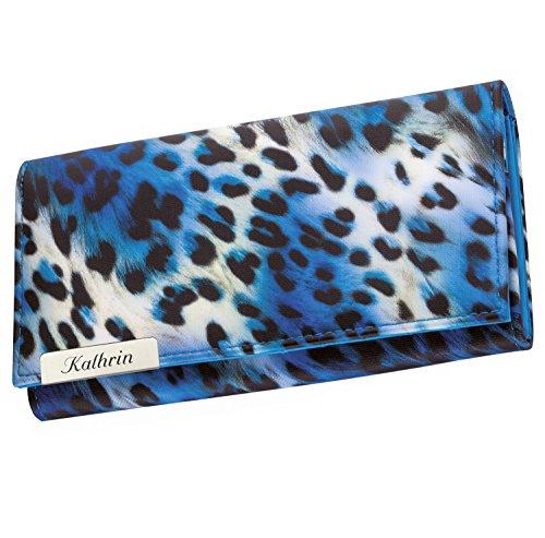 Cadenis Damen-Geldbörse Leoparden-Muster mit persönlicher Laser-Gravur Geldbeutel blau Querformat 19x9,5cm