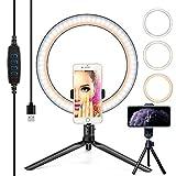 26cm Luz del Anillo, con USB, Regulable, Apto para Live Selfie, de Belleza con luz, Red roja luz de Relleno, Soporte para teléfono móvil de Escritorio, aro de luz LED,26cm Flat Ring Light Set