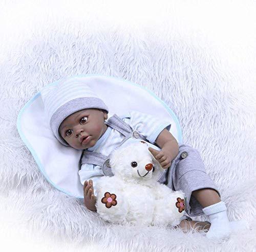 """New Reborn Baby Dolls Niño 22""""55 Cm Cuerpo Completo Silicona Realista Bebés Reborn Piel Negra Realista Baby Doll Baño para Niños Juguete Navidad, Regalo Boca Magnética"""