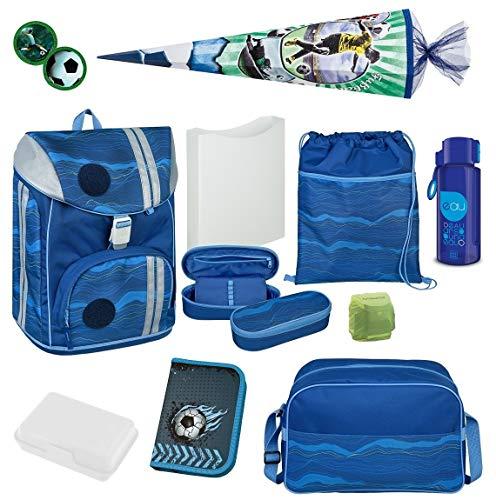 Scooli Schulranzen 1. Klasse Grundschule ergonomischer Schulrucksack 19-TLG. Set FlexMax Blue Wave mit Federmappe Sporttasche Regenschutz und Schultüte 85cm Fußball