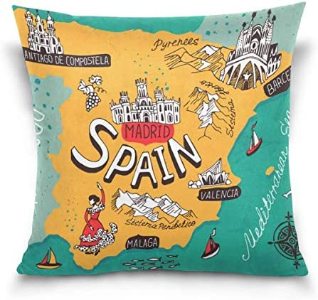 FJPT Throw Pillow Cover Map of Spain Madrid Castle Bullfighting Cotton Pillowslip for Sofa Bed product image