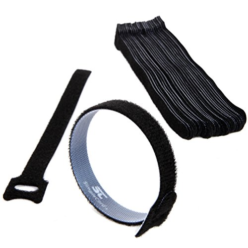 """Simple Cord Cable Management Ties - (30) 8"""" Reusable Self-Gripping Cord Straps - Organize Cables, Cords, and Wires - Simple Cord Organizer for Desks and Offices (Black)"""