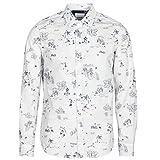 Desigual Ezra - Camisa de manga larga para hombre, color blanco Blanco M