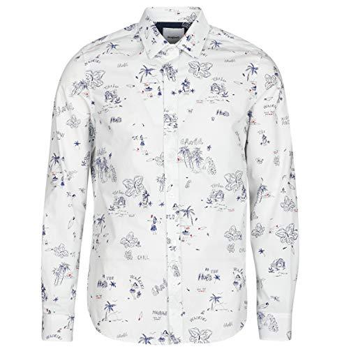Desigual Ezra Hemden Herren Weiss - M - Langärmelige Hemden Shirt