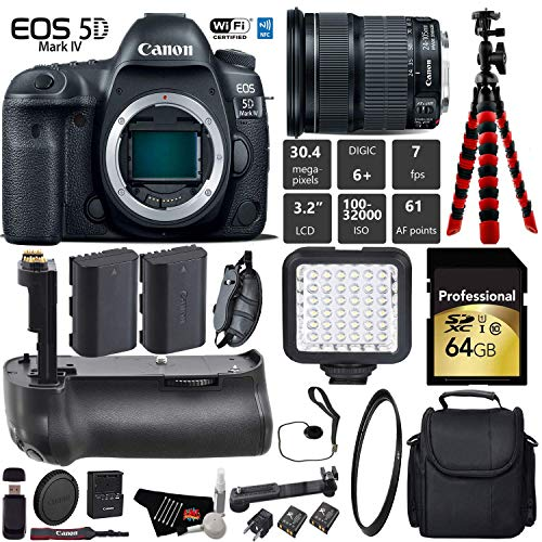 Canon EOS 5D Mark IV DSLR Camera with 24-105mm is STM Lens + Professional Battery Grip + UV Protection Filter + LED Kit + Extra Battery + Case + Wrist Strap + Tripod - International Version