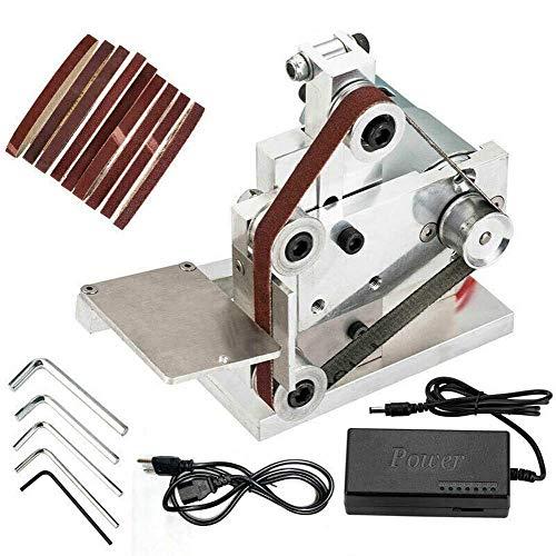DOMINTY 110V Belt Sander Polishing Grinding Machine DIY Mini Belt Sander Knife Apex Edge Sharpener with 10PCS Abrasive Belts
