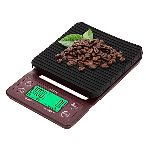 JZSTEE Scale Kitchen Coffee Scale Timer Digital Kitchen Food Kitchen Scale Weight Grams and Oz LCD Display 5kg /0.1g High Precision Cooking Scale Wine Red