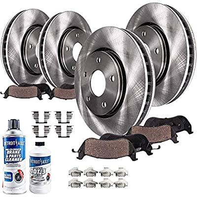 Detroit Axle - Front and Rear Disc Brake Rotors + Brake Ceramic Pads w/Hardware & Cleaner, Fluid Kit for 2013 2014 2015 2017 Mazda CX-5 - See Fitment - 10pc