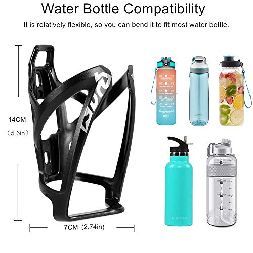 QINIFIFY Bike Water Bottle Cage, 2 Pack Lightweight Bike Bottle Holder Strong Bicycle Drink Cup Holders Cycling Kettle for Road, Mountain and Kids Bikes