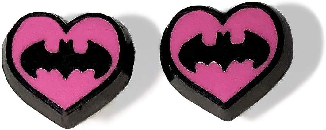 BATMAN PINK HEART EARRINGS - STAINLESS STEEL HYPOALLERGENIC