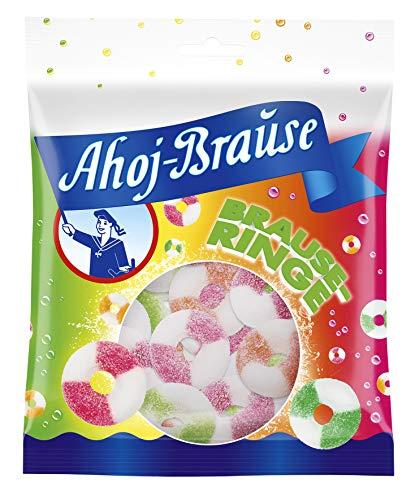 Frigeo Ahoj-Brause Ringe - Prickelnd-Saure Fruchtgummi-Ringe mit Brause Ummantelt, 16er Pack (16 x 150 g)
