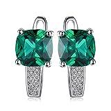 JewelryPalace Cuscino 3.1ct Verde Artificiale Russo Nano Smeraldo Hoop Orecchini a Cerchio Argento Sterling 925