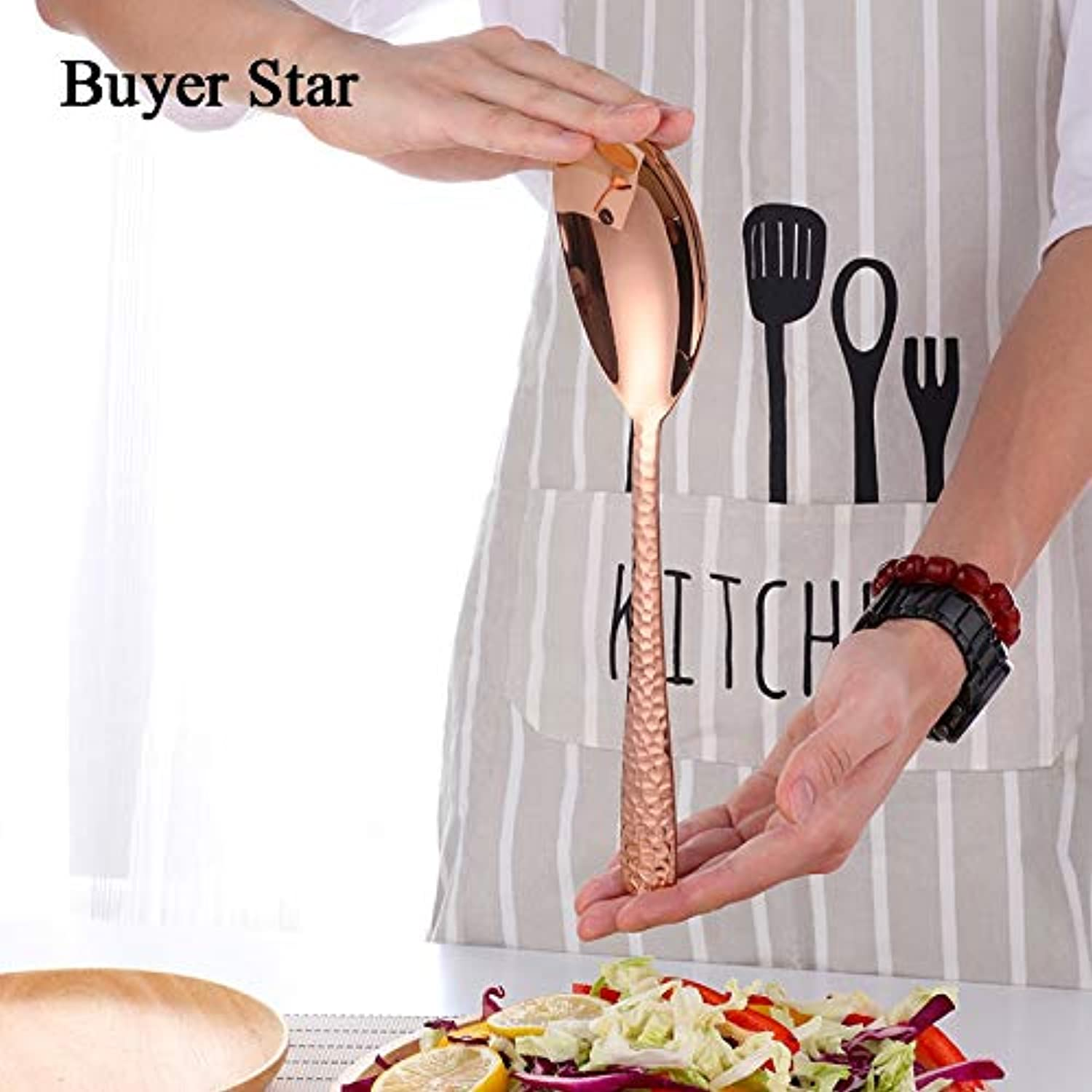 Buyer Star Tableware Set High Quality Utensils Stainless Steel Kitchen Dishes Dinnerware Large Size Salad Spork and Spoon