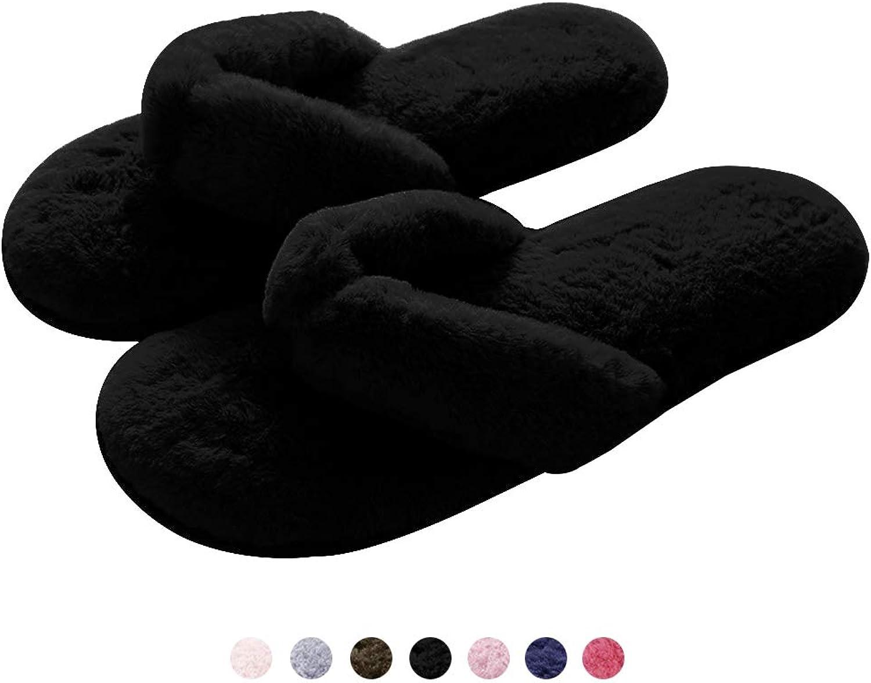 GaraTia Plush Thong Slippers for Women Spa Soft Fleece Flip Flops Cozy Non-Slip Black 5.5-6.5 B(M) US
