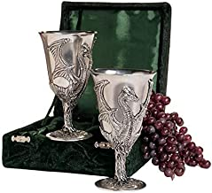 Design Toscano Dragon Pewter Goblet Cup, 6 Inch, Set of Two with Storage Box, Pewter,