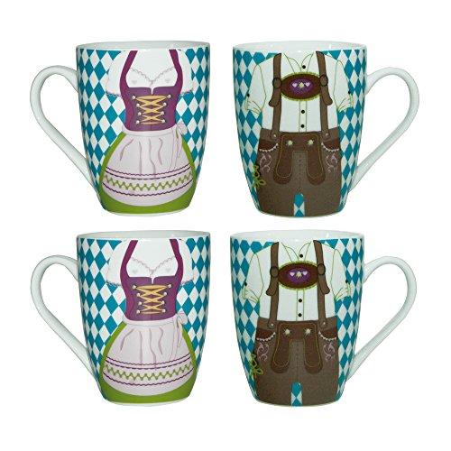 ebos Set de 4 Tazas | 4 x Bavaria Dirndl Pantalones de Cuero -Taza | Taza de Porcelana, Taza de café, Taza de té | Caja Fuerte para lavavajillas (Azul-Blanco)
