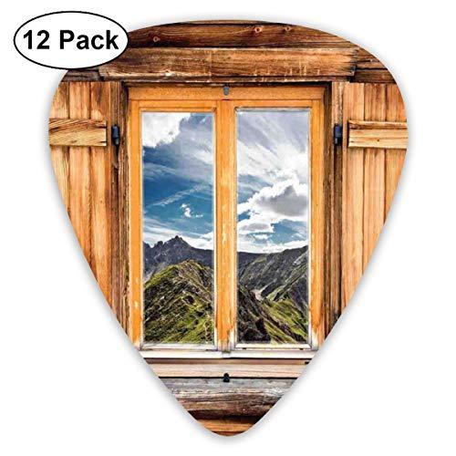 Gitaar Picks12pcs Plectrum (0.46mm-0.96mm), Mountain And Sky View Van Een Houten Rolluik Raam Kamer Op De Top Van De Heuvels Natuur Look,Voor Uw Gitaar of Ukulele