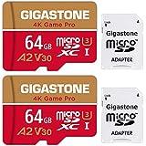 Gigastone Tarjeta Micro SD 64GB, Pack de 2, 4K Game Pro para Nintendo-Switch, GoPro, Cámara de Seguridad, Drone, UHD Video, 95/35MB/s, UHS -I U3 A2 V30 C10