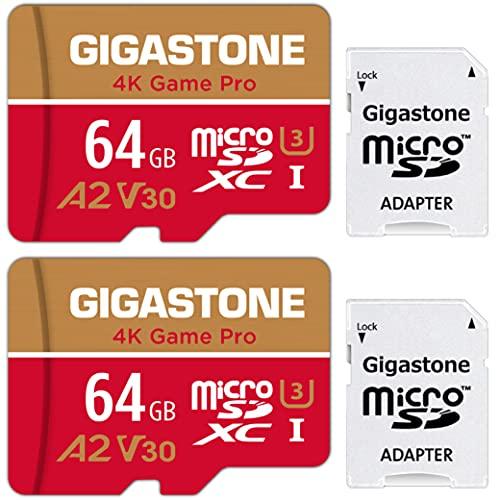 [5 Años Gratuitos de Recuperación de Datos] Gigastone Tarjeta Micro SD 64GB, Pack de 2, 4K Game Pro para Nintendo-Switch, GoPro, Cámara de Seguridad, Drone, UHD Video, 95/35MB/s, UHS -I U3 A2 V30 C10