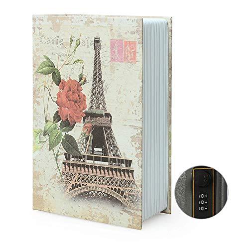 Caja de almacenamiento para libro de desviación, caja fuerte secreto para diccionario con cerradura/llave de combinación de seguridad, caja fuerte oculta para libro de desviación (combinación, París)