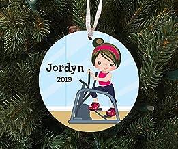 Christmas Xmas Decor 2020 Ornament Personalized Girl on Elliptical Exercise Machine - Work Out Ornament Keepsake - Custom ...