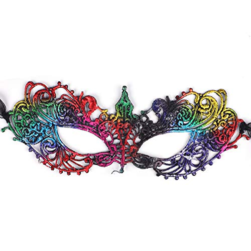 SIBOSUN Graduation Party Masquerade Mask Women Venetian Lace Mask Carnival Ball Rainbow