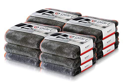 Glart 443TPO - Pack de 12 paños de microfibra prémium para limpiar y pulir de 600 g/m², absorbentes y extrasuaves, sin pelusas. para coches y motos, 40 x 40 cm