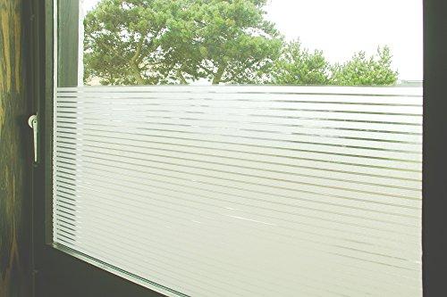 Tamia-Home Statische raamfolie, 90% uv-zonwering, zelfklevend, zichtwerende folie, glasdecoratie, S018-3 liniaal, wit, 90 x 250 cm