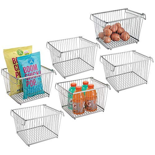 mDesign Household Stackable Wire Storage Organizer Bin Basket with Built-In Handles for Kitchen Cabinets, Pantry, Closets, Bedrooms, Bathrooms � Large, Pack of 6, Steel in Durable Silver Finish