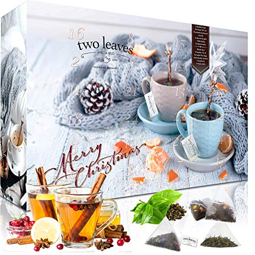 Tea Advent Calendar with 4x12 Pyramid teabags 'Family Pack' by Two Leaves and a Bud with teas and Tea Blends | Black Green Rooibos Herbal Fruit | Loose Tea in Pyramid Bag | Christmas