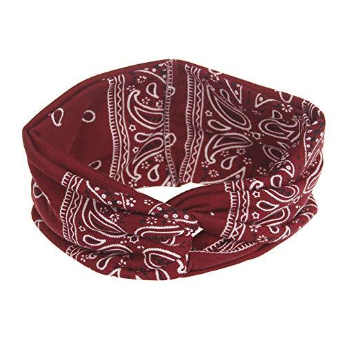 Qinlee Vintage Stirnband Ethnisch Stil Haarbänder Dame Haar Accessoires Yoga Sport Kopftuch Mädchen Bandana Frisuren Haarband (Dunkelrot)