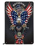 Swono Motorrad-Blechschilder, cooler Adlerreiter auf dem Motorrad mit USA-Flagge, Vintage-Blechschild für Männer & Frauen, Wanddekoration für Bars, Restaurants, Cafés, Pubs, 30,5 x 20,3 cm
