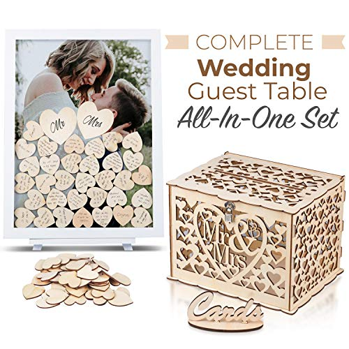 GLM Wedding Guest Book Alternative and Wedding Card Box Drop Top Wooden Frame with Display Stand, 85 Wooden Hearts, 2 Large Hearts, and Signs