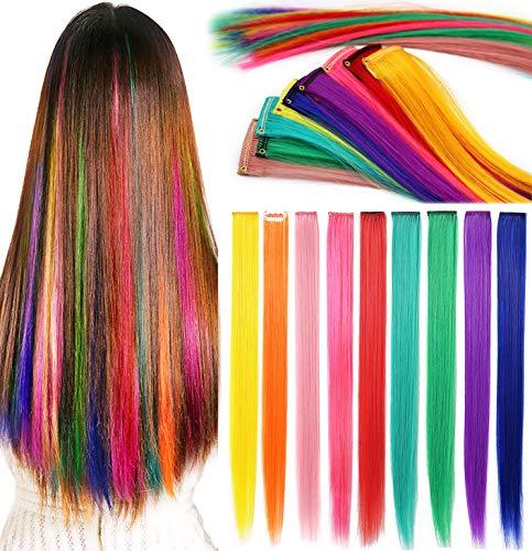 Rhyme Farbige Haarverlängerungen Clip In/On Für Mädchen und Kinder Perücke Stücke für Puppen 9 STÜCKE Regenbogen Farbe
