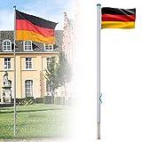 LZQ - Mástil de aluminio para bandera, 6,50 m, incluye bandera de Alemania, mástil de cuerda y manguito de suelo, mástil de aluminio, 5 alturas diferentes