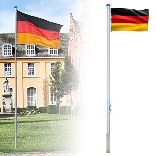 LZQ Aluminium Fahnenmast 6,50m inkl Deutschlandfahne Flaggenmast Seilzug und Bodenhülse, Mast Flagge Alu 5 Verschiedene Höhenverstellbar