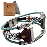 Smatiful Versa 3 Jewellery Wristbands for Femme Women, Adjustable Replacement Sport Leather Strap for Fitbit Sense & Versa 3 Montre, Teal Green Aqua