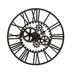 Benzara Antique Colonial Mesmerizing Metal Gear Clock, 32 Diameter, Matte Black Finish