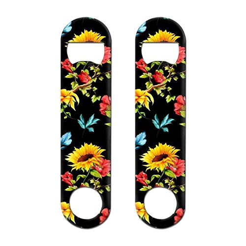 DXYI Yxyx 2 Pack Stainless Steel Flat Bottle Opener Beautiful Yellow Sunflowers Beer Openers for Kitchen, Bar or Restaurant