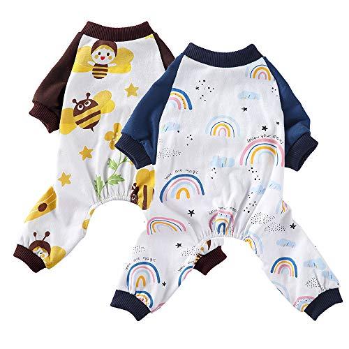 Oncpcare Paquete de 2 pijamas para perro, ropa de dormir de algodón suave, acogedora y adorable...