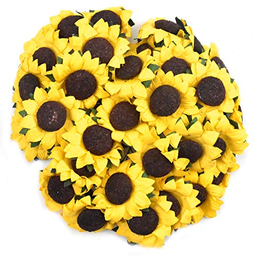 YMWALK Decorative Artificial Flowers,100 PCS Artificial Sunflowers Heads Faux Floral for Home Garden Wedding Party Decoration Wreath DIY Craft
