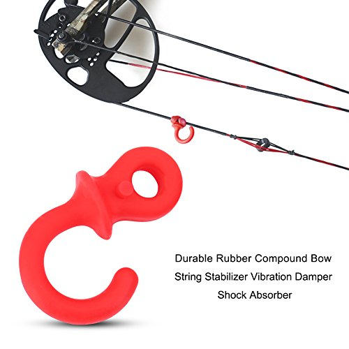 HURRISE 4Pcs Monkey Tail Silencers, Bow Stabilizer Bow Vibration Damper for Bows Rubber Shock Absorber(Red)