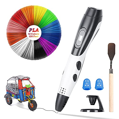 3D Printing Pen,Poyet Intelligent 3D Pen with 2 Pack PLA Filaments, 3D Drawing Printing Pen with LCD Screen USB Charging Compatible with PLA & ABS,Best Birthday Art Crafts Gift Toys for Children