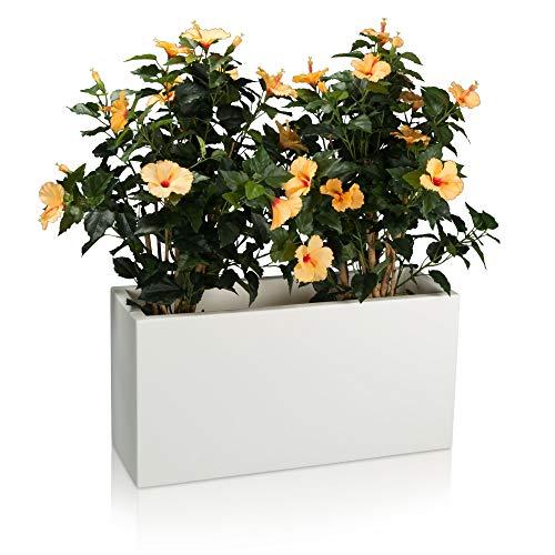 Pot de fleurs VISIO 40 Plastique Bac à Plantes, 80x30x40 cm, blanc mat, garantie de 8 ans (résistance aux UV), résistant au gel - DECORAS bac à plantes haut de gamme