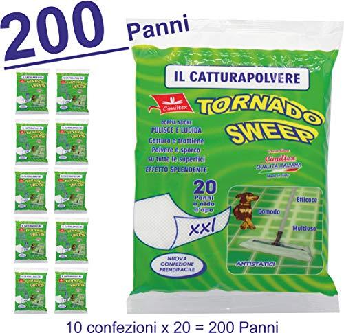 Panni cattura polvere tornado sweep XXL - 200 Pezzi (un Kit da 10 Confezioni)