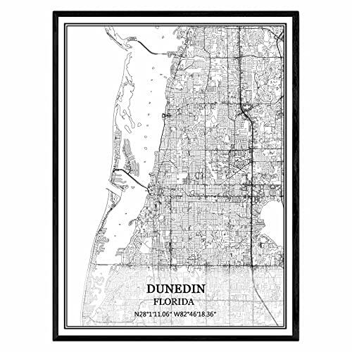 ダニーデンフロリダアメリカ地図ウォールアートキャンバス印刷ポスター アートワークフレームなし地図お土産贈り物室内装飾