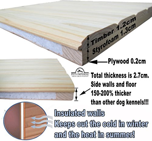 Größe Medium, isolierte Norfolk Hundehütte aus Holz mit entfernbarem Boden zur einfachen Reinigung A - 5